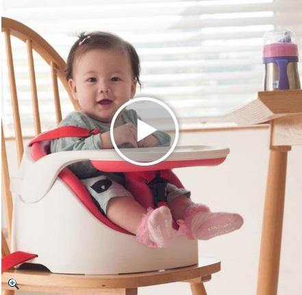 JellyMom幫寶椅嬰兒坐上去加桌子的樣子