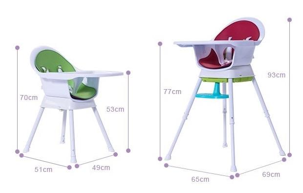 創寶貝高腳餐椅一高一低的樣子